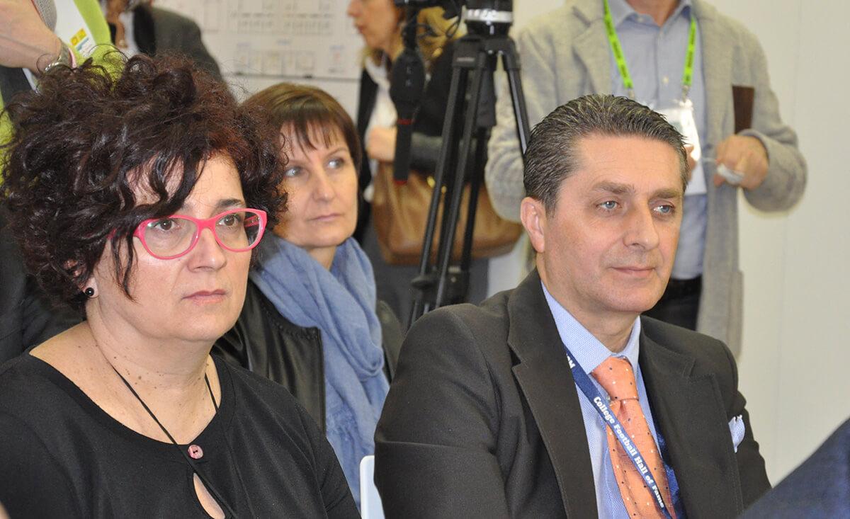 Andrea Badursi con Elisa Macchi, direttrice del CSO (Centro Servizi Ortofrutticoli)